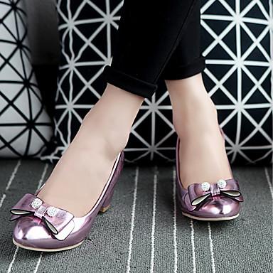 Similicuir Printemps Chaussures Bottier Talon Argent à Talons Nouveauté Chaussures Bout Noeud Automne Rose rond Confort Or 06535472 Femme 5EqRwHdpq