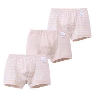 baratos Cuecas & Meias para Meninos-3 Peças Infantil Para Meninos Simples Listrado Algodão Roupa Íntima & Meias Branco