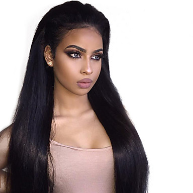 Remy Human Hair Glueless Lace Front Lace Front Wig style Brazilian Hair  Straight Wig 150% Density with Baby Hair Natural Hairline 100% Virgin  Women s Short ... b7c38b90d