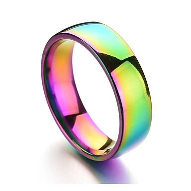 voordelige Herensieraden-Heren Bandring Lichtbruin Titanium Staal Roestvrij staal Cirkelvorm Kleurrijk Dagelijks Formeel Sieraden Regenboog Goedkoop Humeur