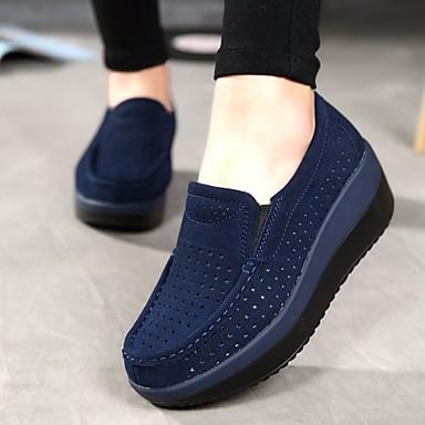 ราคาถูก Shoes & Bags 楼层-สำหรับผู้หญิง รองเท้าส้นเตี้ยทำมาจากหนังและรองเท้าสวมแบบไม่มีเชือก รองเท้าส้นตึก ปลายกลม หนัง ความสะดวกสบาย ฤดูร้อน / ตก น้ำเงินเข้ม / สีเทา / แดง / EU40