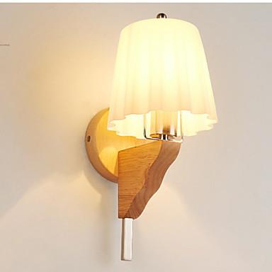 מגן עין מנורות קיר סלון עץ / במבוק אור קיר 220V 7 W / E27