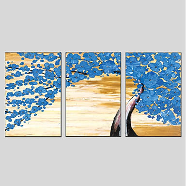 ציור שמן צבוע-Hang מצויר ביד - פרחוני / בוטני מודרני כלול מסגרת פנימית / שלושה פנלים / בד מתוח