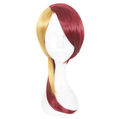 פאות סינתטיות ישר שיער סינטטי אדום פאה בגדי ריקוד נשים ללא מכסה אדום