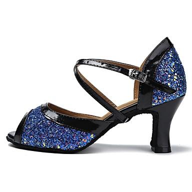 נעליים לטיניות טול סנדלים / עקבים שחבור / Paillette עקב מותאם מותאם אישית נעלי ריקוד שחור / כחול
