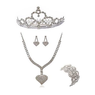 בגדי ריקוד נשים סט תכשיטים - יהלום מדומה לב ארופאי, אופנתי לִכלוֹל נזרים / סטי תכשיטי כלה לבן עבור חתונה / Party