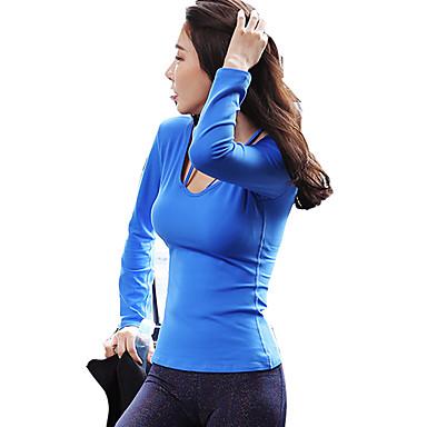 בגדי ריקוד נשים פתוח בגב טישרט לריצה - שחור, פוקסיה, כחול סקיי ספורט צמרות שרוול ארוך לבוש אקטיבי ייבוש מהיר, לביש, נשימה