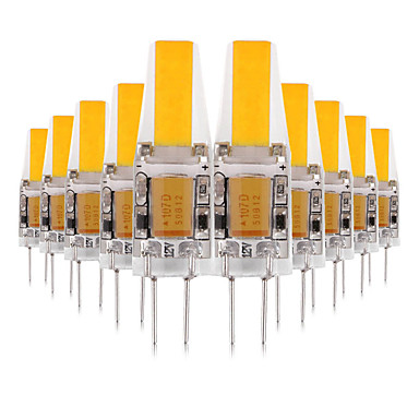 billige Elpærer-ywxlight® 10pcs g4 3w cob 200-300lm ledet bi-pin lys varm hvit kul hvit naturlig hvit ledet mais pære lysekrone lampe 12v 12-24v