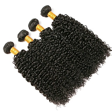 4 חבילות שיער ברזיאלי Kinky Curly שיער אנושי טווה שיער אדם 8-28 אִינְטשׁ שוזרת שיער אנושי מכירה חמה תוספות שיער אדם / קינקי קרלי