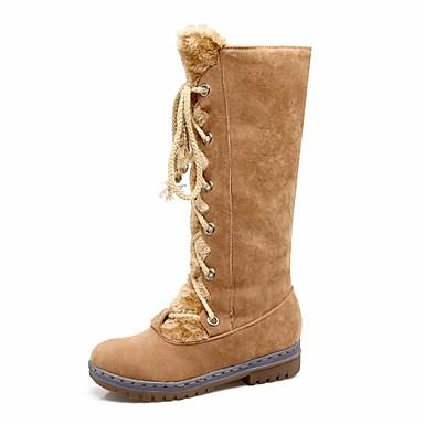 Talon Cuissarde Mode neige Bottes Confort 06515975 la Nubuck Hiver Chaussures Plat Bottes Bottes Mi Bottes à mollet Marron Jaune Noir Cuir Automne de Femme H7C6qn