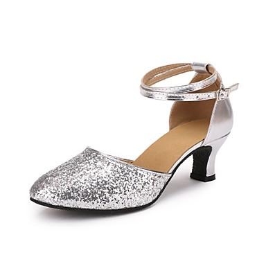 בגדי ריקוד נשים נעליים מודרניות Paillette / דמוי עור עקבים Paillette עקב מותאם מותאם אישית נעלי ריקוד כסף