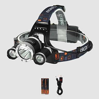 abordables Lampes & Lanternes de Camping-Boruit® RJ-3000 Lampes Frontales 3000 lm LED Xenon Émetteurs 4.0 Mode d'Eclairage avec Pile et Câble USB Professionnel Ajustable Camping / Randonnée / Spéléologie Cyclisme Chasse
