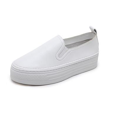 בגדי ריקוד נשים PU אביב / קיץ נוחות נעליים ללא שרוכים שטוח בוהן עגולה לבן