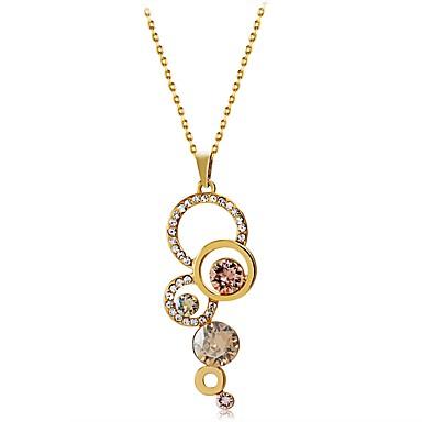 בגדי ריקוד נשים יהלום סינתטי שרשראות תליון - ציפוי זהב, יהלום מדומה קלסי זהב שרשראות עבור Party, רשמי