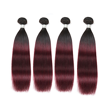 baratos Extensões de Cabelo Natural-4 pacotes Cabelo Brasileiro Clássico 8A Cabelo Humano Âmbar Âmbar Tramas de cabelo humano Extensões de cabelo humano / Reto