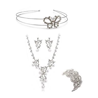 בגדי ריקוד נשים סט תכשיטים - יהלום מדומה לב, פרפר ארופאי, אופנתי לִכלוֹל לבוש ראש סטי תכשיטי כלה לבן עבור חתונה Party