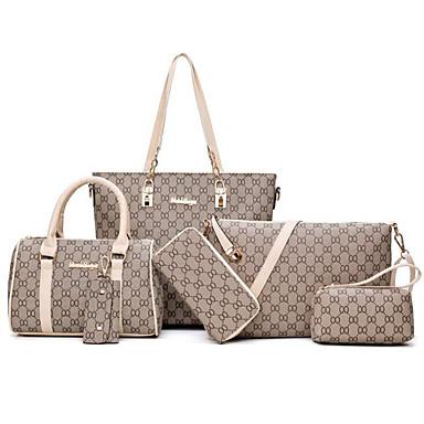 Γυναικεία Τσάντες PU Σετ τσάντα 6 σελ. Σετ πορτοφολιών Φερμουάρ Μαύρο / Ρουμπίνι / Μπεζ