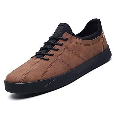 נעליים PU סתיו נוחות נעלי ספורט ל קזו'אל שחור אפור חום