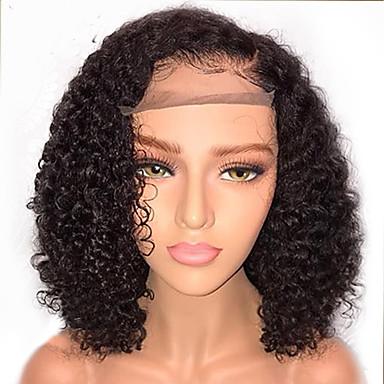 ราคาถูก วิกผมจริง-วิกผมจริง ลูกไม้หน้าไม่มีกาว มีลูกไม้ด้านหน้า วิก บ๊อบตัดผม สไตล์ ผมบราซิล ความหงิก วิก 130% Hair Density ผมเด็ก เส้นผมธรรมชาติ วิกผมแอฟริกันอเมริกัน 100% บริสุทธิ์ ไม่ได้เปลี่ยนแปลง สำหรับผู้หญิง