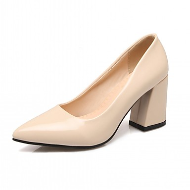 Mujer Zapatos Semicuero Primavera / Otoño Confort / Innovador Tacones Tacón Cuadrado Dedo Puntiagudo Pajarita Blanco / Negro / Rojo MbE22P2G