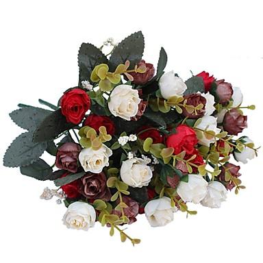 פרחים מלאכותיים 2 ענף פסטורלי סגנון ורדים פרחים לשולחן