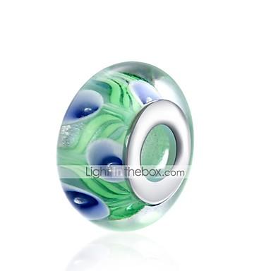 תכשיטים DIY 1 יח חרוזים זכוכית כסוף כחול וירוק כדור חָרוּז 1.5 cm עשה זאת בעצמך שרשראות צמידים