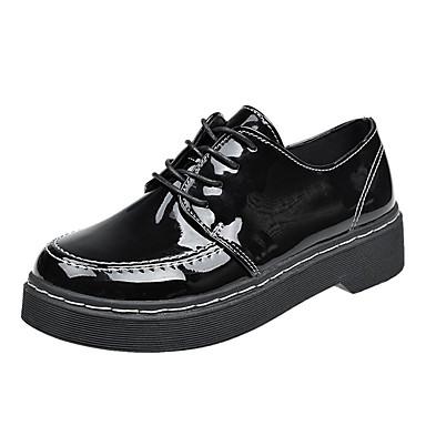 בגדי ריקוד נשים נעליים PU אביב / קיץ נוחות נעלי אוקספורד שטוח שחור