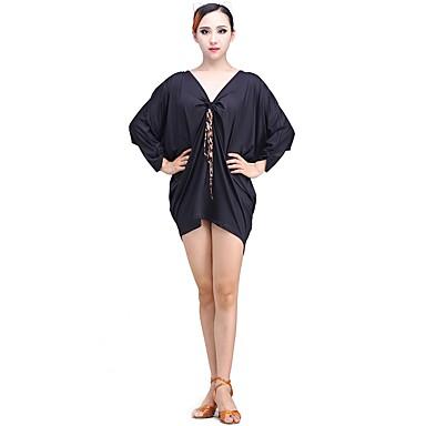 ריקוד לטיני שמלות בגדי ריקוד נשים הצגה מילק פייבר / משי קרח קפלים שרוול 4\3 טבעי שמלה