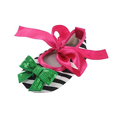 baratos Para Crianças de 0-9 Meses-Para Meninas Tecido Rasos Crianças (0-9m) Conforto / Primeiros Passos / Sapatos de Berço Laço / Apliques / Cadarço de Borracha Vermelho / Verde / Rosa claro Primavera / Outono / Casamento / Listrado