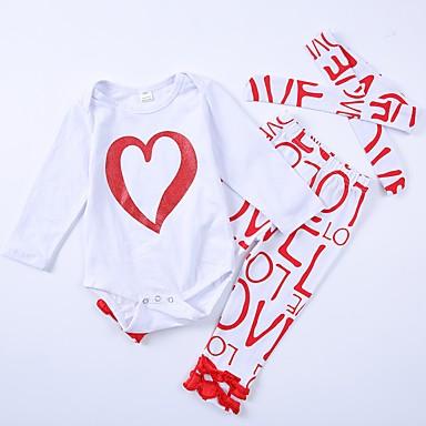 סט של בגדים כותנה שרוול ארוך אחיד / דפוס פעיל בנות פעוטות