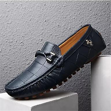 Homens sapatos Couro de Porco Primavera Outono Mocassim Mocassins e Slip-Ons Caminhada Mocassim para Casual Preto Laranja Azul Marinho