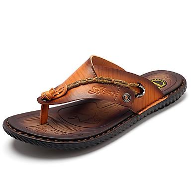 Homens sapatos Couro Ecológico Primavera Outono Conforto Sandálias para Casual Azul Castanho Escuro