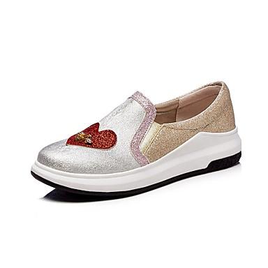 בגדי ריקוד נשים נעליים דמוי עור אביב / סתיו נוחות נעליים ללא שרוכים שטוח בוהן עגולה חרוזים שחור / כסף
