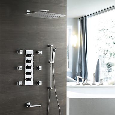 עכשווי מותקן על הקיר מקלחת גשם שפורפרת יד כלולה תרמוסטטי שסתום קרמי חמש ידיות תשעה חורים כרום, ברז למקלחת