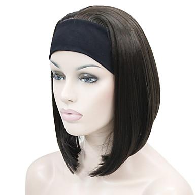 Synthetische Perücken Glatt / Kinky Glatt Bubikopf Synthetische Haare Rot / Schwarz / Braun Perücke Damen Kurz 3/4 voll ohne Kappe