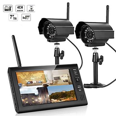 저렴한 컨슈머 전자제품-7 인치 tft 디지털 2.4g 무선 카메라 오디오 비디오 아기 모니터 밤 빛이 두 카메라와 4ch 쿼드 dvr 보안 시스템