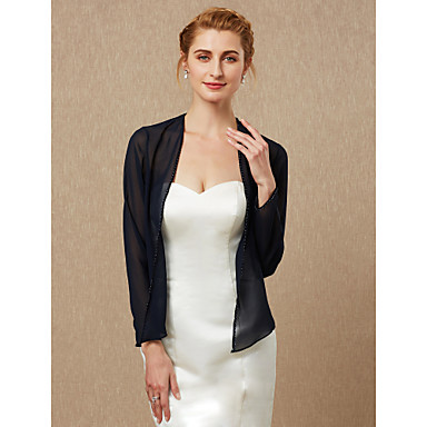 שרוול ארוך שיפון חתונה / מסיבה\אירוע ערב כיסויי גוף לנשים עם חרוזים מעיל\ז'קט