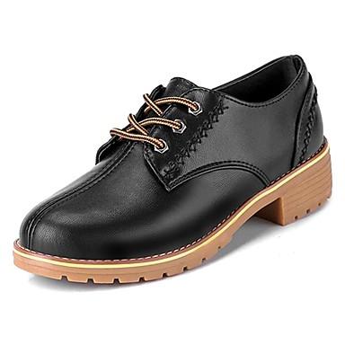 בגדי ריקוד נשים נעליים גומי אביב / סתיו נוחות נעלי אוקספורד עקב עבה בוהן עגולה שחור / בז' / חום