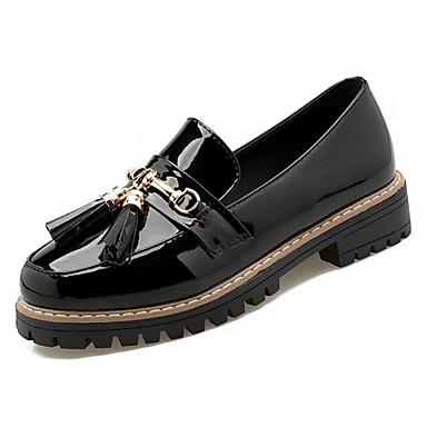 בגדי ריקוד נשים נעליים גומי אביב / סתיו נוחות נעליים ללא שרוכים עקב עבה לבן / שחור / בורדו