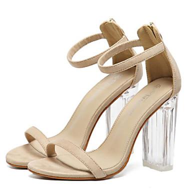 בגדי ריקוד נשים נעליים עור נובוק אביב / קיץ נוחות סנדלים עקב עבה שחור / שקד