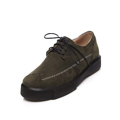 Noir 06554315 Amande Nubuck rond Femme Printemps Cuir Creepers Chaussures Vert Bout Confort Oxfords Automne qvFBwR