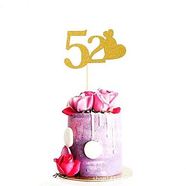 קישוטים לעוגה חתונה / משפחה / יומהולדת זוהר ונוצץ נייר חתונה / יום הולדת עם אהובה 1 pcs OPP