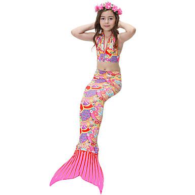 בנות חמוד פעיל דפוס בגדי ים, כותנה פוליאסטר ללא שרוולים קשת