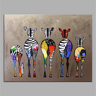 billige Oliemalerier-håndmalet lærred dyreolie maleri farverig zebra moderne kunst ingen ramme