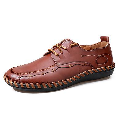 בגדי ריקוד גברים עור אביב / סתיו נוחות נעלי אוקספורד צהוב / חום בהיר / בורדו