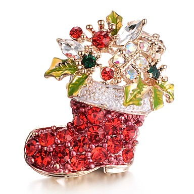 בגדי ריקוד נשים זירקונה מעוקבת תפס לשיער - אל חלד מתוק סִכָּה אדום עבור חג מולד / מתנה / שנה חדשה