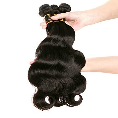 baratos Extensões de Cabelo Natural-3 pacotes Cabelo Brasileiro Ondulação Larga 10A Cabelo Virgem Cabelo Humano Ondulado Tramas de cabelo humano 8a Extensões de cabelo humano