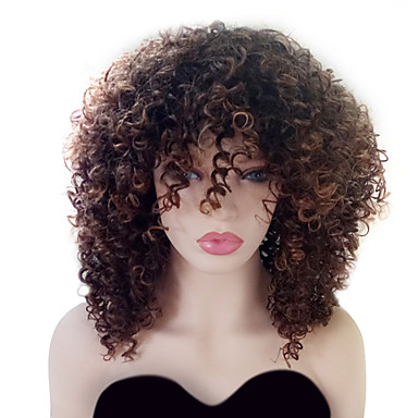 Synthetic Wig Curly With Bangs Synthetic Hair Highlighted / Balayage Hair / With Bangs Brown Wig Women's Medium Length Capless