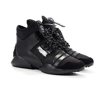 בגדי ריקוד נשים נעליים עור נאפה Leather / עור אביב / סתיו נוחות נעלי אתלטיקה הליכה עקב טריז שחור / ירוק צבא