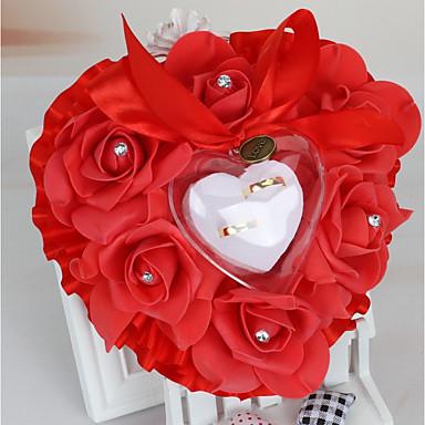 hesapli Yüzük Yastıkları-Saten Yuvarlak Yastık Romantizm / Düğün Tüm Mevsimler